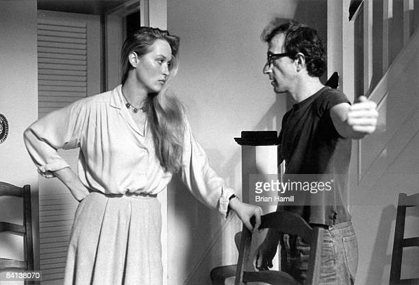 American film actress Meryl Streep watches as director actor and writer Woody Allen stretches out his arm in a scene from his film 'Manhattan' New...