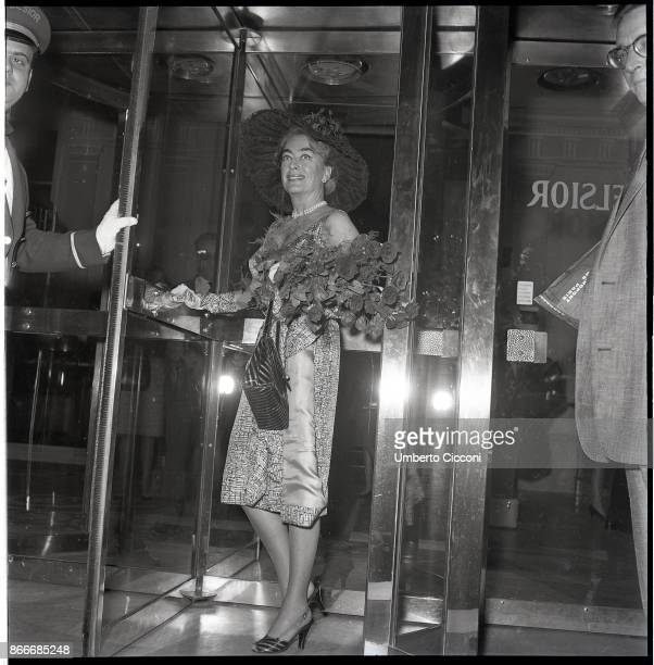 American film and television actress Joan Crawford at the entrance of the hotel in Via Veneto Rome May 1962