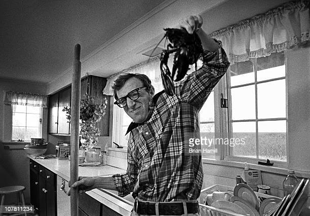 American film director and actor Woody Allen stands in a kitchen and recoils from a lobster he is holding with a look of fright on the set of his...