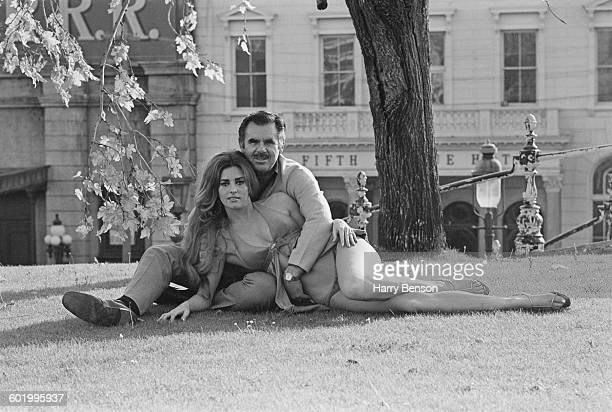 American film director and producer Russ Meyer with his fiancee actress Edie Williams New York City USA 4th May 1970