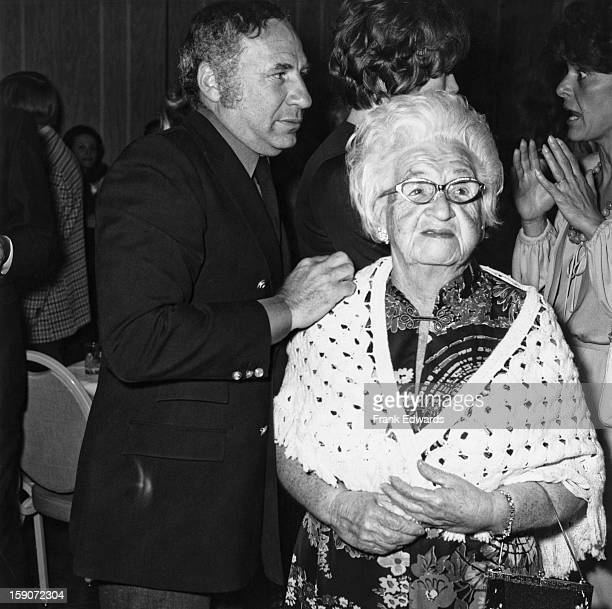 American film director and screenwriter Mel Brooks with his mother Kate during Shirley MacLaine's new show 'If They Could See Me Now' at the MGM...