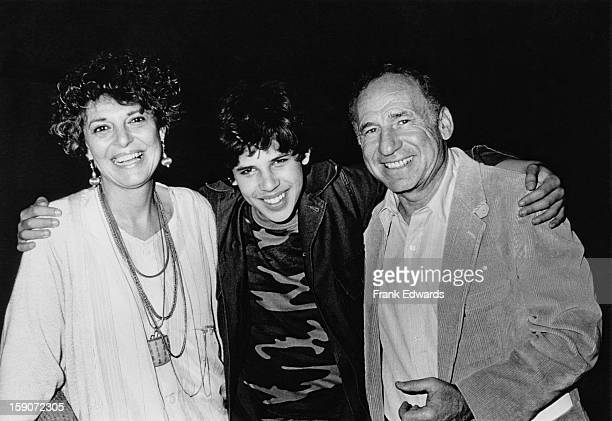 American film director and screenwriter Mel Brooks with his wife actress Anne Bancroft and their son Maximilian at the Wadsworth Theatre in Westwood...