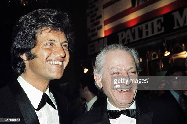 American film director Jules Dassin and of his son singer Joe Dassin attend the premiere of the Jerry Lewis show at the Olympia concert hall in Paris...