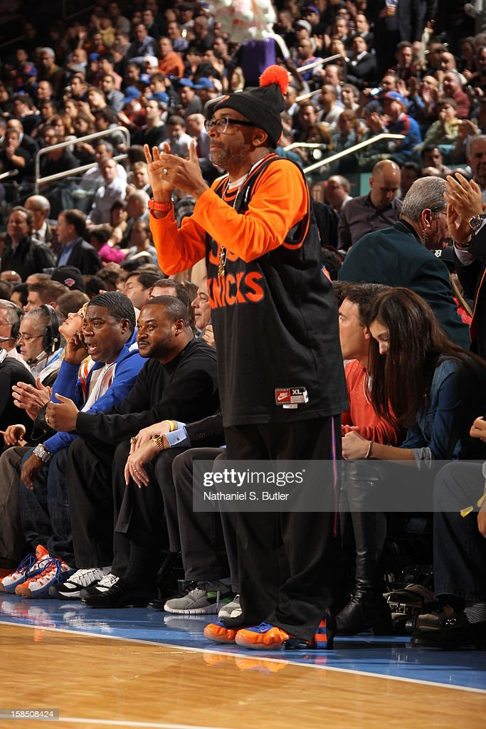 American film director, producer, writer, and actor Spike Lee cheers on his New York Knicks during the game against the Houston Rockets on December 17, 2012 at Madison Square Garden in New York City.