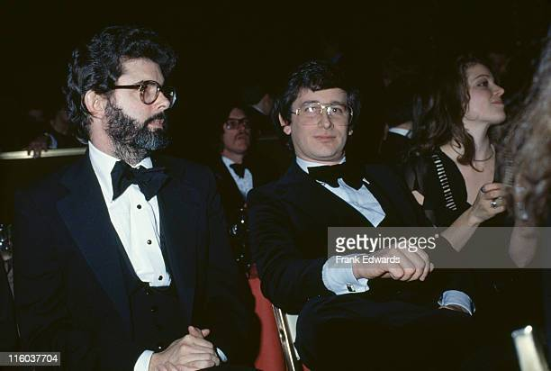 American film director Steven Spielberg with director and producer George Lucas at a Directors Guild of America awards ceremony at the Beverly Hilton...