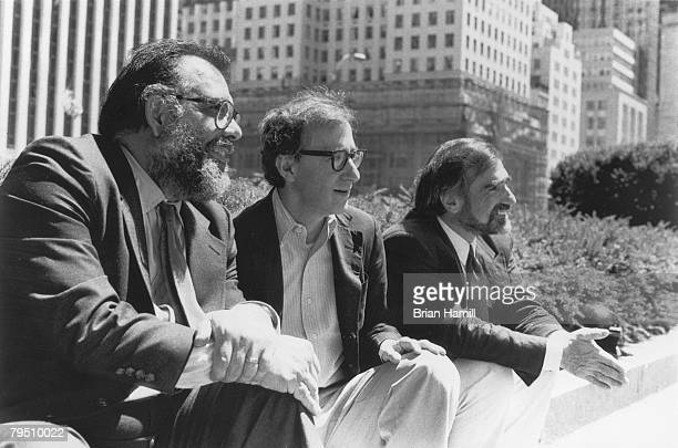 American film directors from left Francis Ford Coppola Woody Allen and Martin Scorsese sit together during filming of their anthology project 'New...