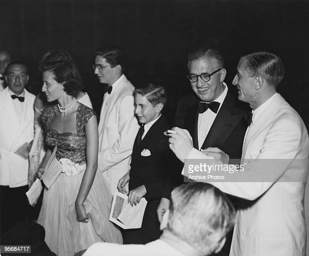 American film producer David O Selznick at the Venice Film Festival with his sons Daniel and Jeffrey 1949