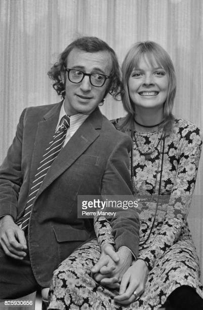 American filmmaker and actor Woody Allen with his girlfriend at the time actress Diane Keaton his girlfriend at the time at the Hilton Hotel London...