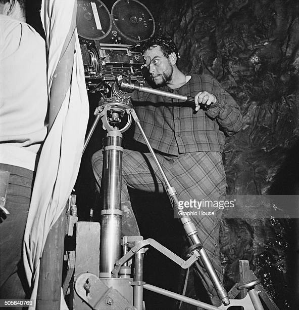 American filmmaker Orson Welles directing his 1948 film adaptation of Shakespeare's tragedy 'Macbeth' for Republic Pictures at Studio City Los...