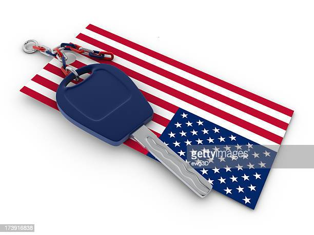 American Flag and Car Key