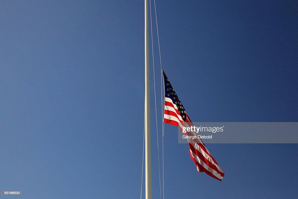 American flag at half mast