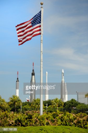 American flag at rocket park NASA Kennedy Space Center