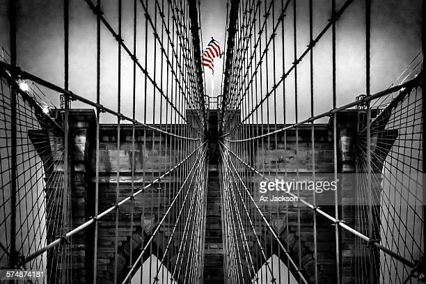 American flag atop of the Brooklyn Bridge