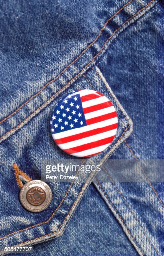 American flag button badge
