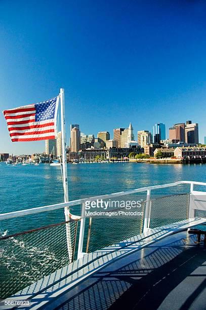 American Flag fixed with the railing, Boston, Massachusetts, USA