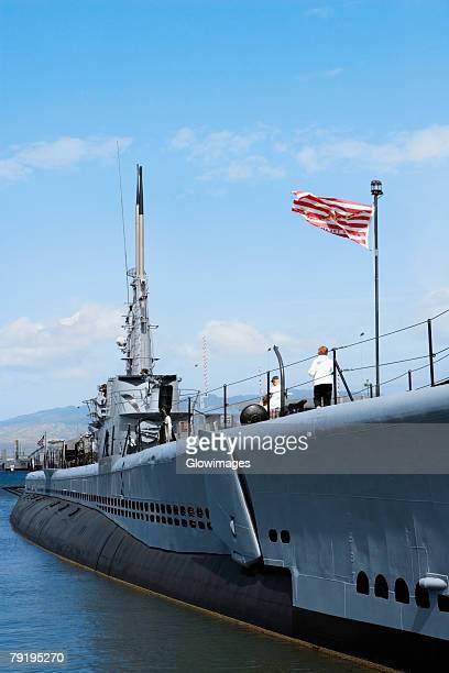 American flag fluttering on a military ship, USS Bowfin, Pearl Harbor, Honolulu, Oahu, Hawaii Islands, USA