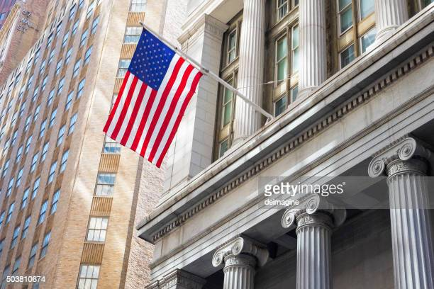 American flag in financial district, New York