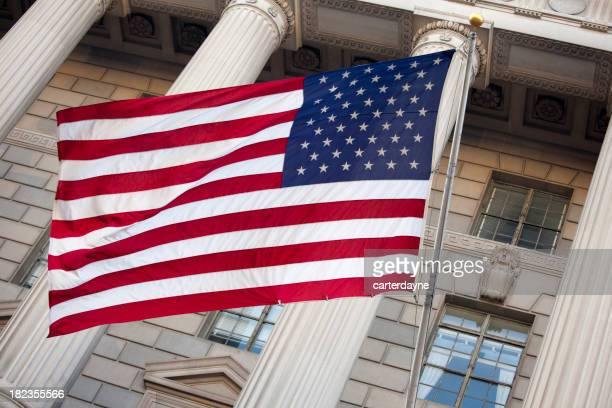 US American Flag in front of Federal Building, Washington DC