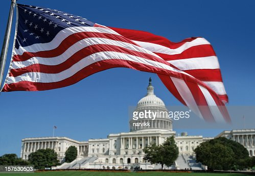 American Flag in front of The Capitol