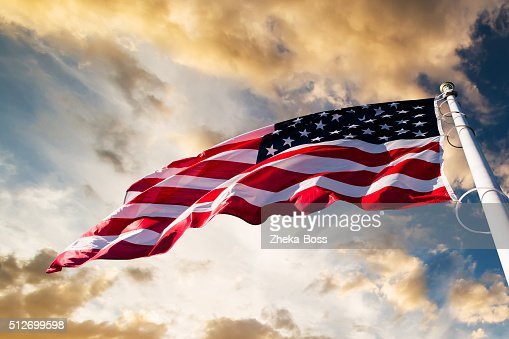 american flag in the sky : Stock Photo