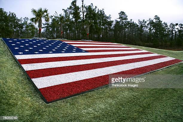 American flag made of dyed gravel