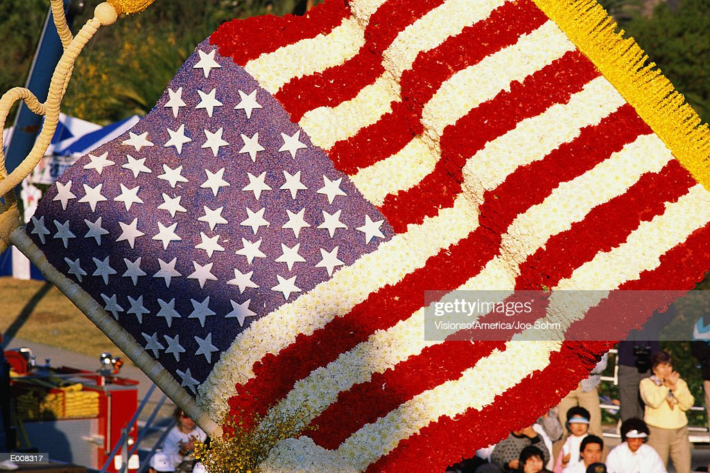 American flag made of flowers from Rose Parade : Stock Photo