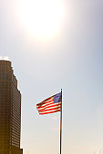 American flag on a pole, Chicago, Illinois, USA