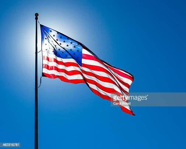 American flag on a windy day