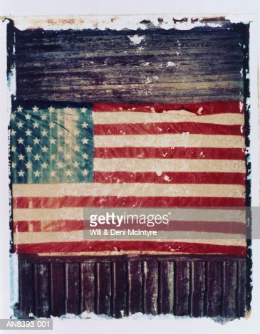 American flag on barn wall,  North Carolina, USA (transfer image) : Stock Photo