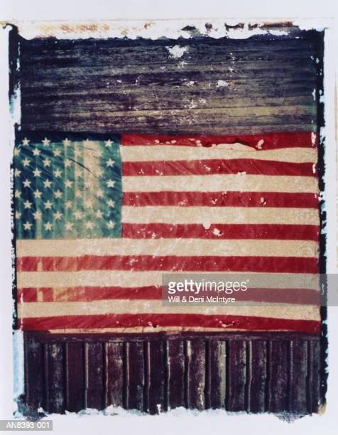American flag on barn wall,  North Carolina, USA (transfer image)