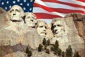 American flag over Mount Rushmore National Memorial