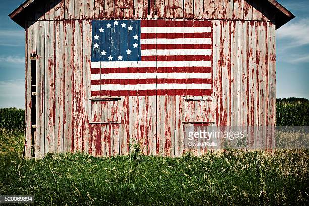 American flag painted on barn