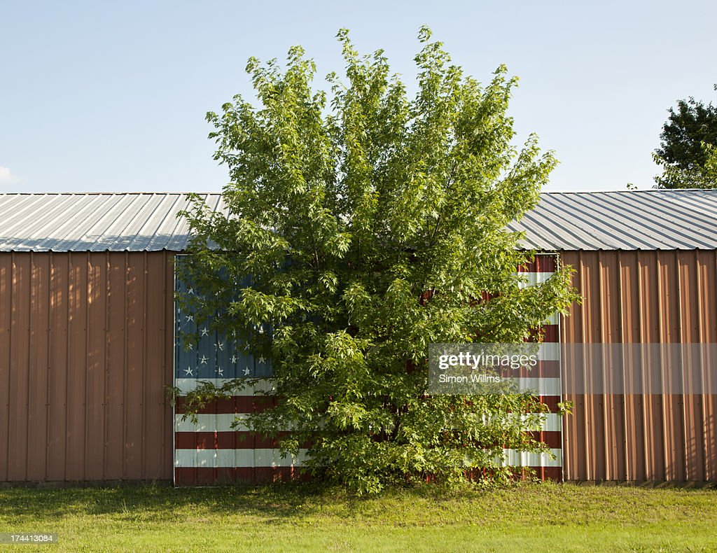 American Flag Painted on Garage : Stock Photo