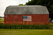American Flag Painted on Red Barn