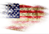 American flag with some grunge effects and lines