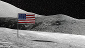 American flag stuck in the rocky moon surface with stars and moonscape in the background 3D illustration