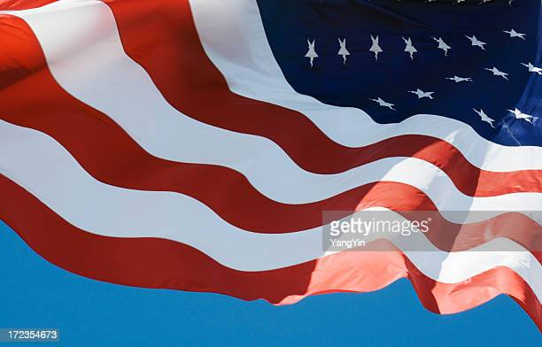 American Flag, United States of America National Banner Rippling, Waving