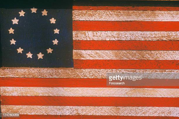 American Flag with Thirteen Stars Painted On Wood, United States