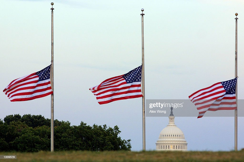 American flags fly at half staff on the grounds of the Washington Monument in memory of the victims of the terror attacks in New York City and at the Pentagon September 17, 2001 in Washington, DC.