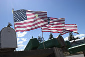 American Flags Flying From Rural Mailboxes