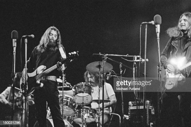 American folk rock group The Byrds performing at the Rainbow Theatre London 16th January 1972 Left to right Clarence White Skip Battin Gene Parsons...