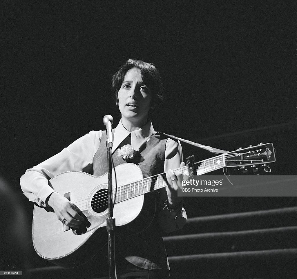 American folk singer Joan Baez performs during the taping on an episode of the television comedy and variety show, 'The Smothers Brothers Comedy Hour,' Los Angeles, California, March 2, 1969. The episode was originally broadcast on March 30, 1969.