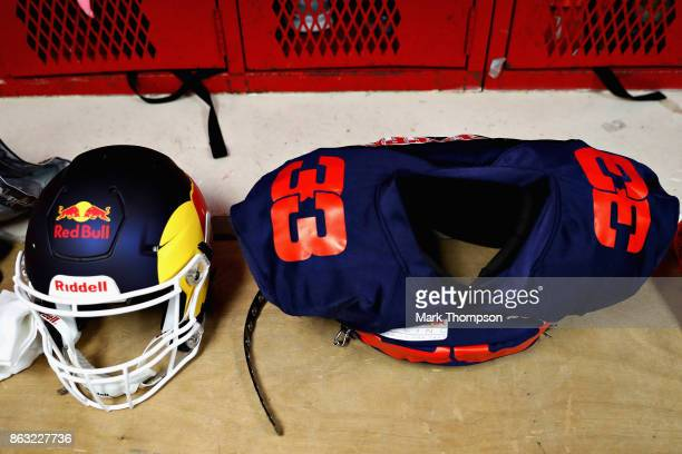 American football equipment for Max Verstappen of Netherlands and Red Bull Racing before a training session with the Del Valle Cardinals High School...