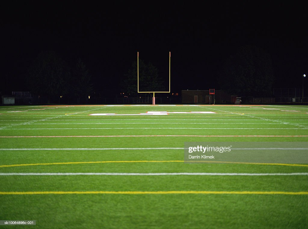 American football field at night : Stock Photo
