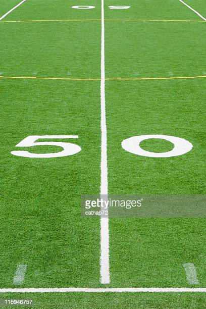 American Football Field Fifty Yard Line Close Up