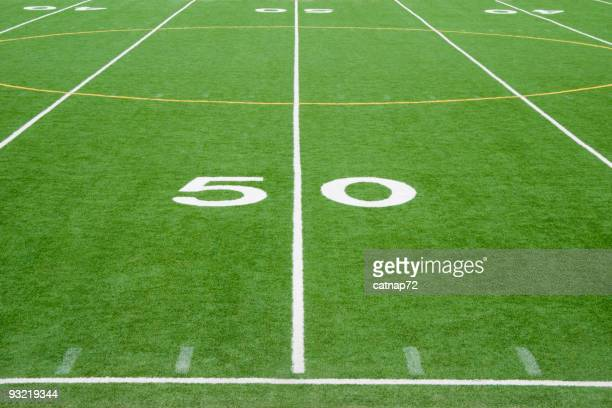 American Football Field Fifty Yard Line in Grass