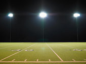 American football field with numbers
