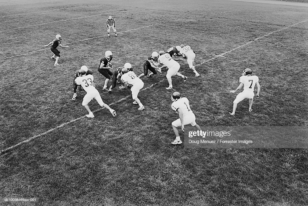 American football game, elevated view (B&W) : Stock Photo