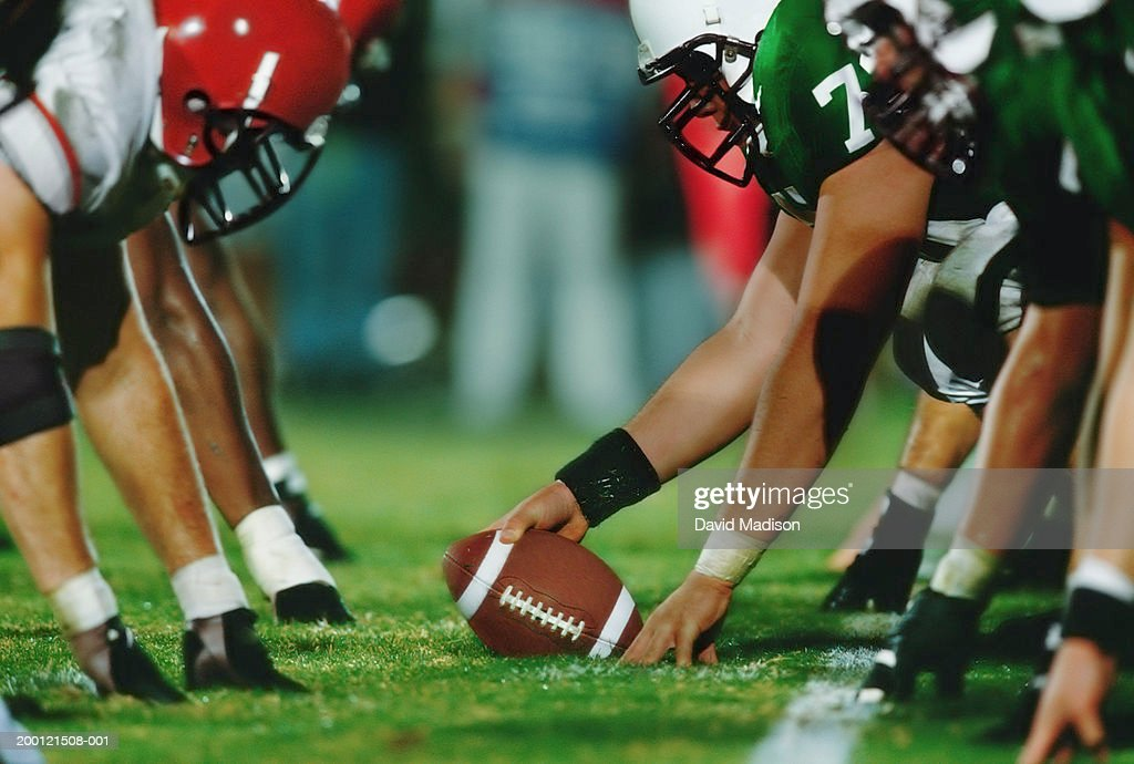 American football line of scrimmage, ground view (Digital Enhancement) : Stock Photo