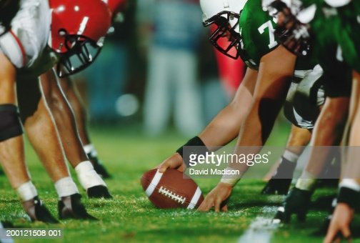 American football line of scrimmage, ground view (Digital Enhancement)
